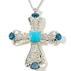 "Heritage Gems White Cloud Turquoise and Blue Topaz Cross Pendant with 18"" Chain"