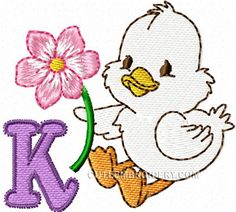 Here's the letter K from Cute Embroidery's Duck Alphabet.  Be sure to download this free embroidery design.