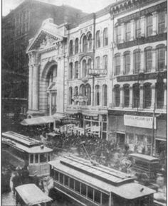Not from the scrapbook-Main Entrance of the Iroquois shortly after the fire broke out.