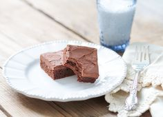 A recipe for grain free fudgy brownies with dairy free chocolate frosting. Paleo.