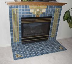 BRAND NEW Frank Lloyd Wright Avery Coonley Pendant and Runner featured on both sides of this fireplace.