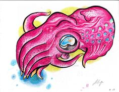 Cuttlefish Drawing for Tattoo by LaVonneChew on DeviantArt Cuttlefish, Rooster, Disney Characters, Fictional Characters, Colorful, Deviantart, Tattoos, Drawings, Animals