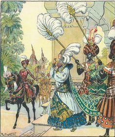 """'Après lui avoir donné le dernier adieu, il partit' Illustration : R. de la Nézière livre : """"les mille et une nuits – mme la csse Desmiers de Chenon – 1929.-"""
