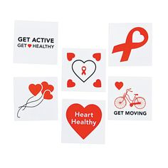 Stick around and show your support! Easy to apply and remove, these Heart Disease Awareness Tattoos are a great way to spread the message of a healthy heart this February. OrientalTrading.com