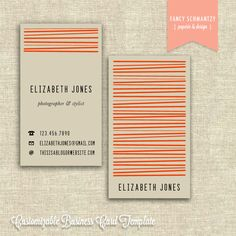 Business Card Template. $21.50, via Etsy.