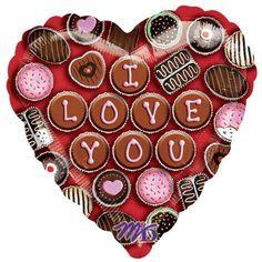 """Amscam Palloncino cm 45 a cuore con scritta """" I LOVE YOU """" formata con foto di pasticcini di cioccolato Amscam  http://www.amazon.it/gp/product/B0013XZFM6/ref=as_li_tf_tl?ie=UTF8&camp=3370&creative=23322&creativeASIN=B0013XZFM6&linkCode=as2&tag=iwancy03-21"""