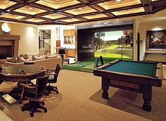 Turning Your Basement into the Ultimate Man Cave Can Be Fun - Man Cave Home Bar Cave Bar, Man Cave Home Bar, Game Room Basement, Man Cave Basement, Man Cave Garage, Golf Man Cave, Home Golf Simulator, Golf Room, Man Cave Room