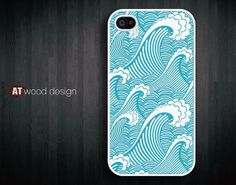 classic blue sea wave Rubber case iphone 4 case by Atwoodting, $6.99
