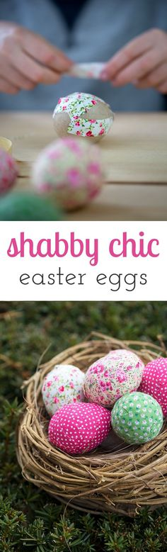 Loving these colorful shabby chic inspired Easter eggs! They are a fun Easter craft for kids too! via @https://www.pinterest.com/fireflymudpie/