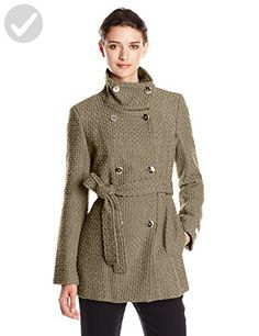 Calvin Klein Women's Double Breasted Wool Coat with Belt, Truffle, X-Small - All about women (*Amazon Partner-Link)