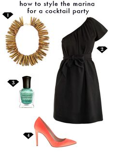 how to style the gold coral marina necklace for a cocktail party