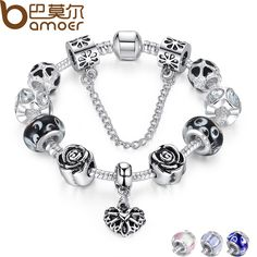 4 Colors 925 Silver Heart Charm Bracelet Silver with Safety Chain & Black Beads Bracelet Authentic Jewelry PA1435