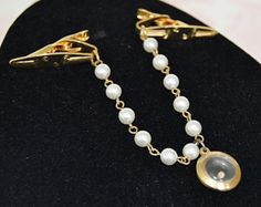 Vintage Sweater Clips with Faux Pearl Chain and Seed in Clear Pendant