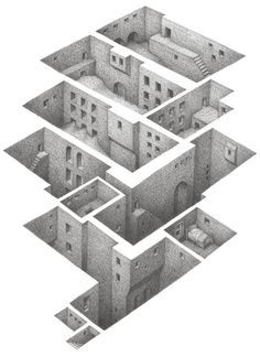 Ground Came In. Hiding in a Safe Architectural Labyrinth Drawing. By Matt Borrett.