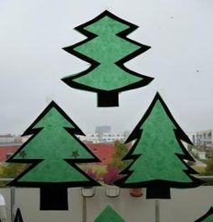Nikolaus und Tannenbäume aus Transparentpapier fürs Fenster - Weihnachten-basteln - Meine Enkel und ich - Made with schwedesign.de