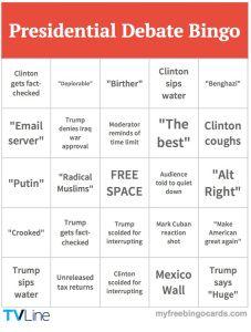 2016 Debate bingo card