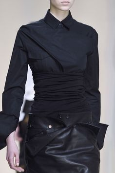 Asymmetric shirt & black leather skirt; innovative fashion details // Hussein Chalayan Fall 2016