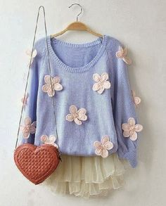 Ladies Sweater Of Multi Flowers With Heart Shaped Handbag Click the picture to see more