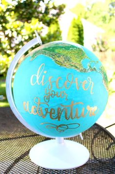 This hand painted vintage globe is the perfect piece to an adventurers home. This globe stands 16.5 tall and 12 wide and is hand lettered with