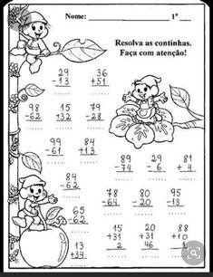 Pin De Lais Porto Em Atividades   Fichas De Exercícios De 1st Grade Worksheets, Kindergarten Math Worksheets, 1st Grade Math, Math Activities, Teaching Plan, Teaching Math, Learning Websites, Kids Learning, Math Charts