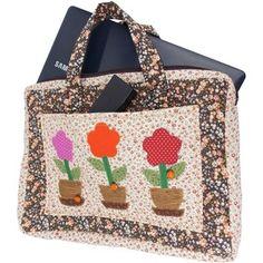 Bolsa de Patchwork para Notebook Vasos de Flores Mais