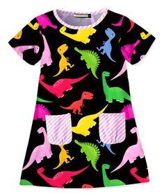 This Black Dinosaur Pocket T-Shirt Dress - Toddler & Girls is perfect! #zulilyfinds