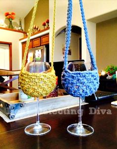 Another version of the hang around your neck wine glass holder! Gotta have these! Free crochet pattern.