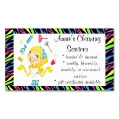 Cleaning services maid business card colour