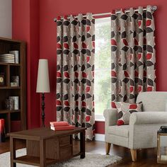 Sherwood Red Lined Eyelet Curtains | Dunelm