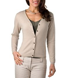 Beige Silk- Cotton Ladies V Neck Cardigan