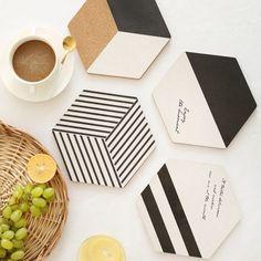 Modern-Hexagon-Coaster-Wooden-Cup-Cushion-Holder-Drink-Placemat-Home-Tea-Mat