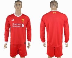 2017-2018 Liverpool Club red long sleeves soccer jersey home