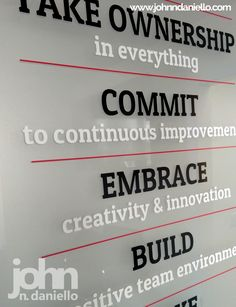 Plexiglass Core Values Sign Office Wall Graphics, Office Wall Art, Office Walls, Corporate Office Design, Corporate Offices, Cool Office, Office Ideas, Office Designs, Company Core Values