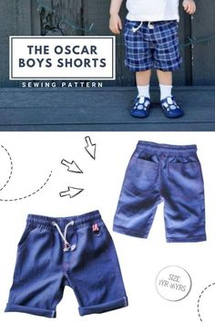 The Oscar Boys Shorts sewing pattern (Ages 1-16). These shorts as a total breeze! They have a faux zipper flap and an elasticated waist which makes this a quick afternoon project. There are a few new tricks to sewing this one, making it look totally professional. The fit is perfect too. Once you have made one you will be running them up all the time. Best of all it only takes just over half a yard of fabric to make one of these. Boys Sewing Patterns, Sewing For Kids, Sewing Courses, Kids Pants, Modern Kids, Boy Shorts, Toddler Outfits, Patterned Shorts, Breeze