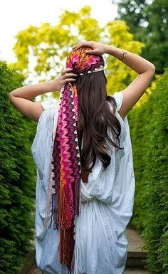 Pashmina en el pelo