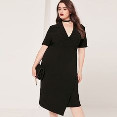 Plus Size Women Casual Brief Elegant Sexy Dress Deep V Asymmetrical Hem