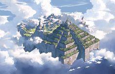 Temple of the Four Cloudlands Fantasy City, Fantasy Castle, Fantasy Places, Fantasy Map, High Fantasy, Fantasy Artwork, Fantasy World, Fantasy Art Landscapes, Fantasy Landscape