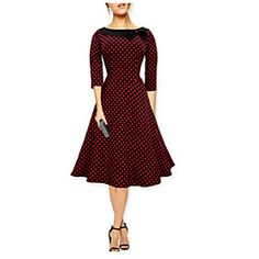 Reese #Women's Polka Dot #Multi-color Dresses , Casual / Party Round ¾ Sleeve
