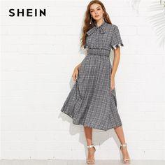 8efc557eeb0 Grey Elegant Flower Applique Cuff Tied Neck Plaid Stand Collar Short Sleeve  Dress Summer Women Weekend Casual Dresses