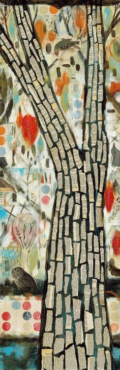 judy paul..love the height and texture of this piece.  like the book pages for bark idea