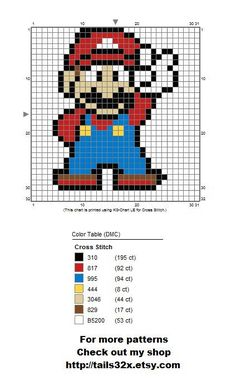 Mario Pattern for Cross Stitch and Needlepoint by on DeviantArt Dmc Cross Stitch, Cross Stitch Bookmarks, Cross Stitch Cards, Cross Stitching, Cross Stitch Embroidery, Cross Stitch Patterns, Mario Crochet, Pixel Crochet, Motifs Perler