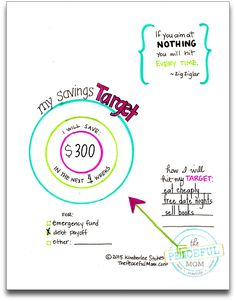 1 Month Money Makeover - A creative and spiritual way to transform your money. Print this colorful Savings Target page to help you focus on your goals this month. -- from ThePeacefulMom.com