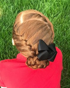 French rope braids and a French braid into a bun.
