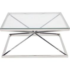 Picture of GERO coffee table 100x100 clear/stainless steel