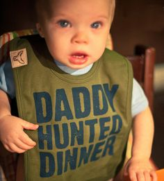 Kids Camo Apparel: Olive Daddy Hunted Dinner Bib|Camo Trading