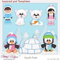 South Pole - Kristi W Designs Templates Laura Lee, Clipart, Paper Piecing, Very Merry Christmas, Christmas Fun, Paint Shop, Winter Theme, Craft Party, Diy Craft Projects