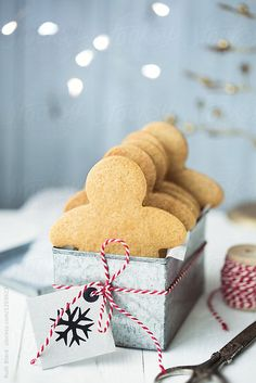 Gingerbread man cookie gift box by Ruth Black for Stocksy United