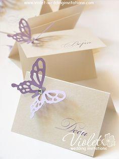 """Finesse"" Place Card, Violet Handmade Wedding Invitations"