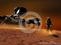 Astronaut leaving his spaceship and walking on the ground of a distant planet.