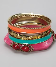 Take a look at this Hot Pink Bangle Set by Chit-Chat on #zulily today!